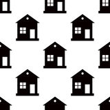 One storey house pattern seamless on white background. Flat design Vector. Illustration Stock Photography