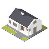 One-storey house with slant roof isometric icon set Royalty Free Stock Photos