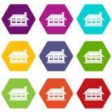 One-storey house with three windows icon set color hexahedron. One-storey house with three windows icon set many color hexahedron isolated on white vector Royalty Free Stock Photos