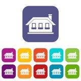 One-storey house with three windows icons set Royalty Free Stock Photos