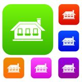 One-storey house with three windows set collection Royalty Free Stock Photo