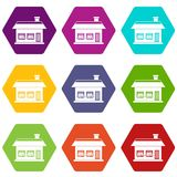 One storey house with two windows icon set color hexahedron Stock Image