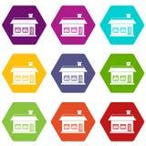 One storey house with two windows icon set color hexahedron. One storey house with two windows icon set many color hexahedron isolated on white vector Stock Image
