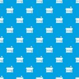 One storey house with two windows pattern seamless blue. One storey house with two windows pattern repeat seamless in blue color for any design. Vector geometric Royalty Free Stock Photo
