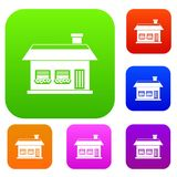 One storey house with two windows set collection Stock Photo