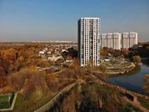 One-storey and multi-storey houses in Khimki, Russia. royalty free stock photos