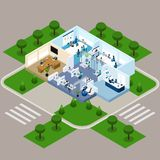 One Storied Office Isometric Interior Stock Images