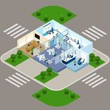 One Storied Office Isometric Interior Icon Royalty Free Stock Photography