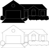 One Story House. Silhouette of a one story, ranch style house.  Isolated on white.  This file contains a black house with white lines and a white house with Royalty Free Stock Photos