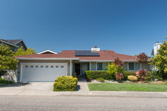 One story single family house with driveway Stock Photos
