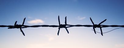 One strands of new barbed wire Stock Image