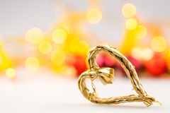 One straw christmas heart on white background Royalty Free Stock Photography