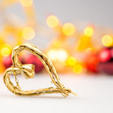 One straw christmas heart on white background Stock Images