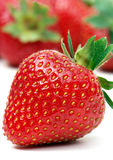 One strawberry. Stawberry on white with out of focus strawberries in background Stock Images