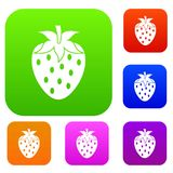 One strawberry berry set color collection Stock Photography