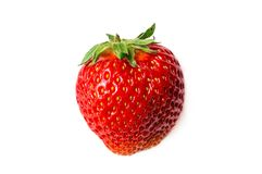 One strawberry isolated on white background Royalty Free Stock Images