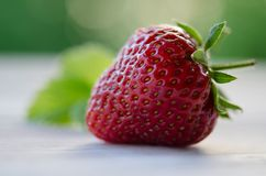 One strawberry on wooden table Stock Photography
