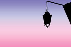 One street light at sunset Royalty Free Stock Photo