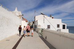 one of the street with sea view in historic center of Albufeira Stock Image