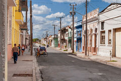 One of streets in the center of colonial town of Cienfuegos, Cuba Royalty Free Stock Photos