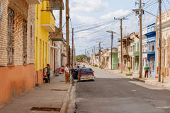 One of streets in the center of colonial town of Cienfuegos, Cuba. Royalty Free Stock Photo