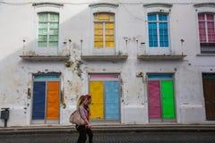 One of streets in center of Ponta Delgada. Stock Photo