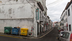 One of streets in center of Ponta Delgada, Sao Miguel Island, Portugal. Stock Photo