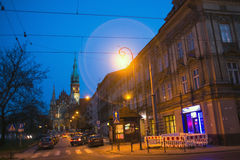 One of the streets in historical center of Krakow on night time. Royalty Free Stock Photography
