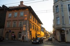 One of the streets in historical center of Krakow. Royalty Free Stock Image