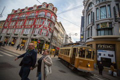 One of the streets in the historical centre of Old Porto downtown. Royalty Free Stock Images