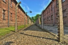 One of the streets of horrible Auschwitz-Birkenau in Auschwitz royalty free stock photography