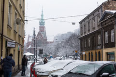 One of the streets of Kazimierz  quarter, is a historical district of Krakow Stock Photography