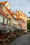 One of the streets in medieval town of old Riga. Stock Photography