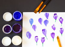 One stroke painting. Basic one stroke painting strokes explained for beginners. Three acrylic paint colors and brushes. Hand drawn. Folk crocus flowers Royalty Free Stock Photos