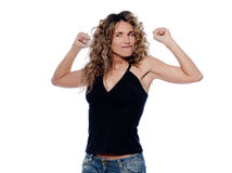 One strong powerful woman flexing muscles proud Royalty Free Stock Images
