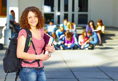 One student in front of group Stock Photo