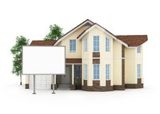 One stylized house with an empty signboard Stock Photo