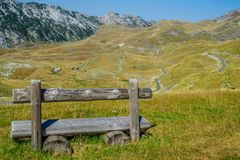 One sunny day in the mountains. Beautiful mountain Durmitor in Montenegro, magnificent with beautiful valleys at the top Stock Photo