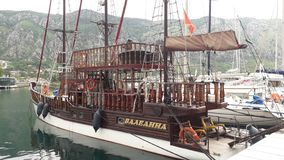 Pirate ship in Port of Kotor stock image