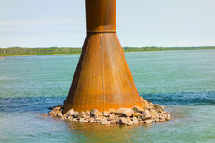 One of the supports for a bridge crossing the mackenzie river Stock Images