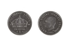 One Swedish Crown coin Stock Photography