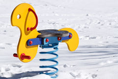 One Swing in Snow Royalty Free Stock Photos