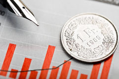 One Swiss Franc coin on fluctuating graph. Royalty Free Stock Image