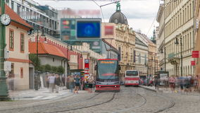 One of the symbol of Prague a tram - street car turning in Old Town Stare Mesto by Prague Namesti Republiky station stock video