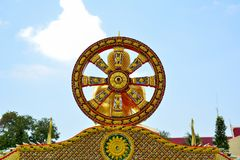 One of the symbols of Buddhism. wheel. Pattaya Thailand. One of the symbols of Buddhism. a wheel signifying the sun. at the entrance to the Buddhist temple Royalty Free Stock Image