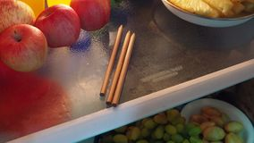 Pencils stored in the refrigerator. One of the symptoms of Alzheimer disease is that can not remember how to handle everyday things. Such as pencils stored in stock footage