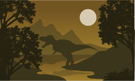 One T-Rex in riverbank silhouette Royalty Free Stock Images