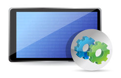 One tablet pc with gears, processing concept Royalty Free Stock Photography