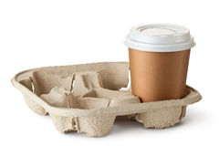 One take-out coffee in holder Royalty Free Stock Photos