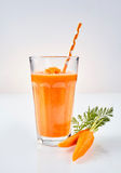 One tall glass of orange root vegetable drink Royalty Free Stock Photo